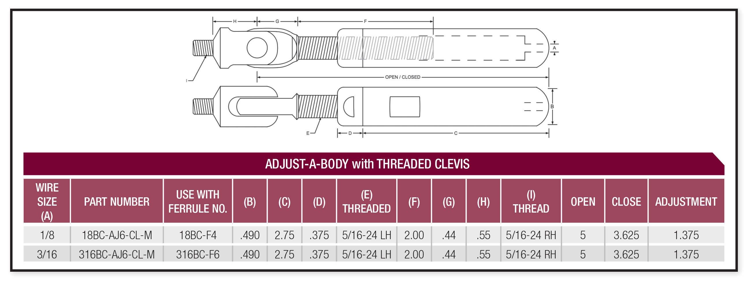 adjust-a-body with threaded clevis