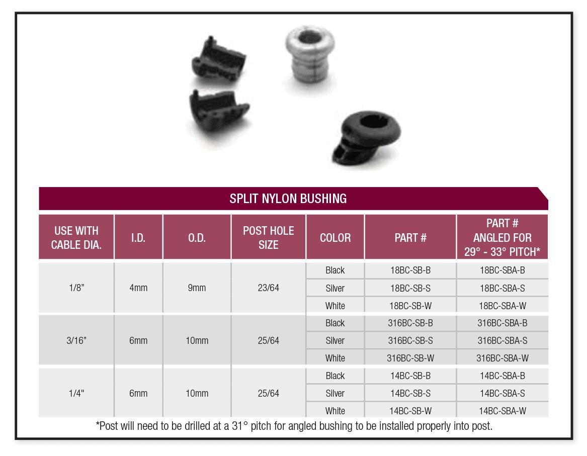 split nylon bushing specifications
