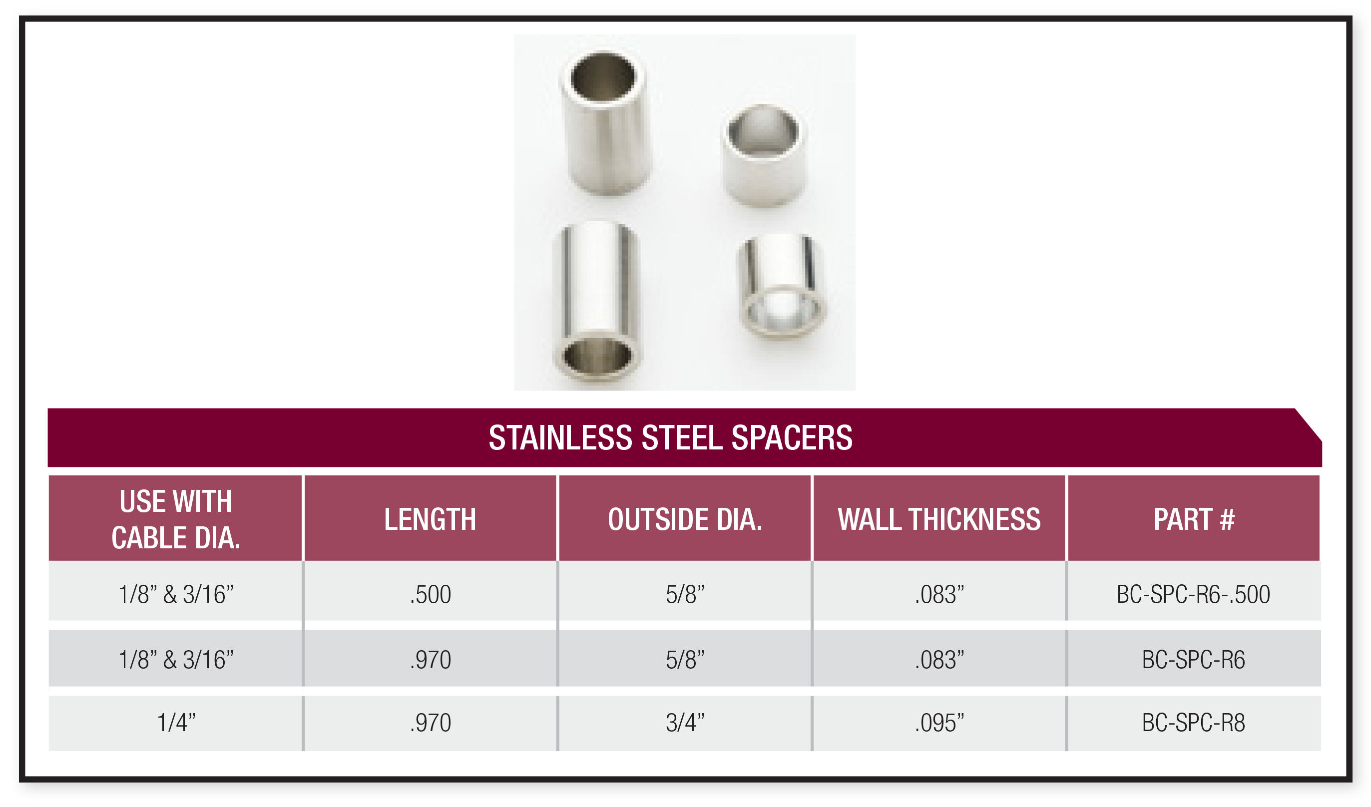 stainless steel spacer specifications